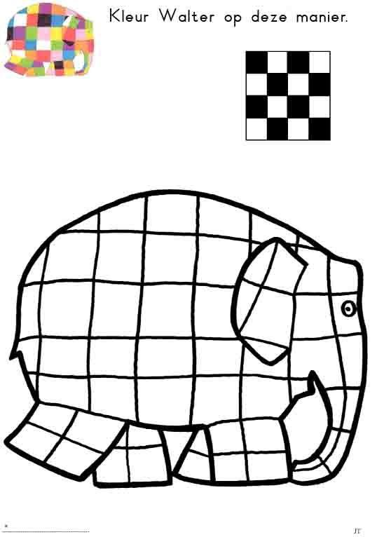 Werkblaadje Thema Elmer: kleur in dampatroon