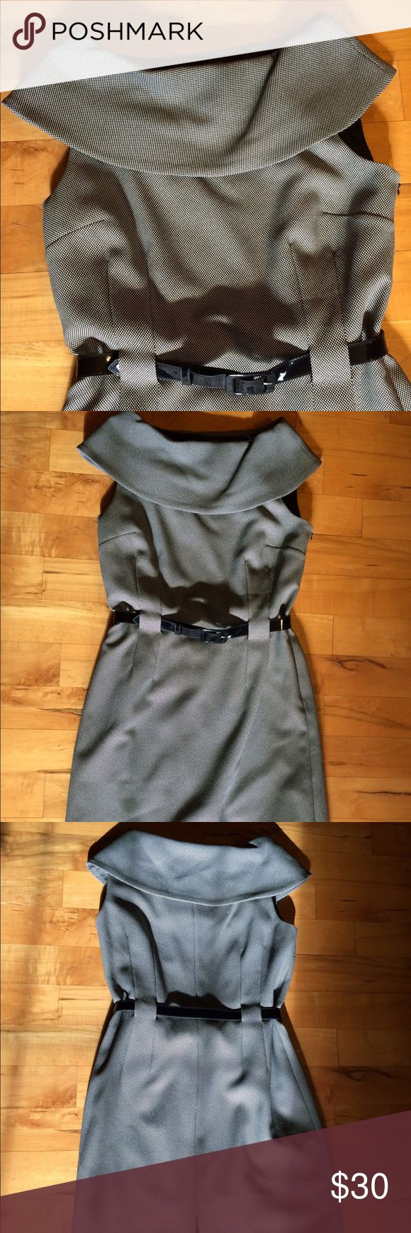 """🆕👗Tahari Mad Men style dress Beautiful Tahari dress, large collar and flattering belted fit. Side zip and back slit. I don't think I ever wore this dress...Bust 18"""", waist 16"""", hip 19"""", length is 39"""". The fabric has some give. Tahari Dresses Midi"""
