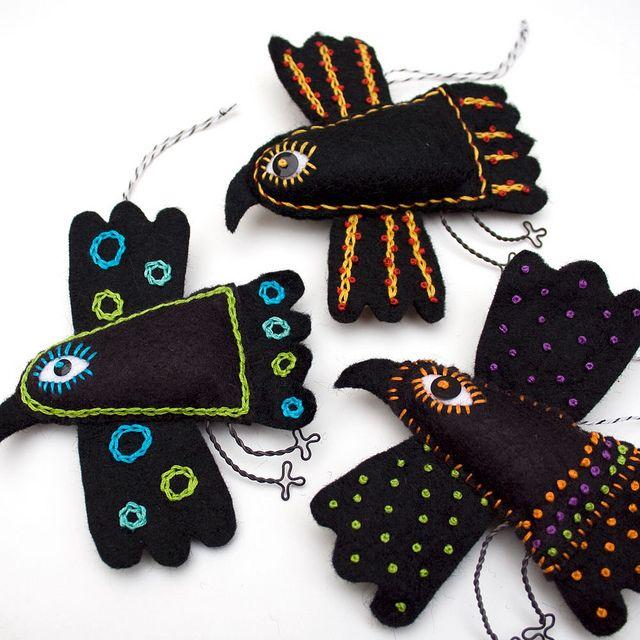 folk art ravensIdeas, Art Felt, Mexicans Folk, Mexican Folk Art, Felt Ravens, Embroidered Felt, Art Ravens, Ravens Ornaments, Crafts