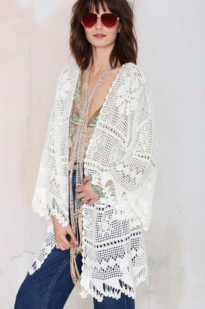 Somedays Lovin Big Wave Crochet Kimono - Jackets + Coats | Clothes