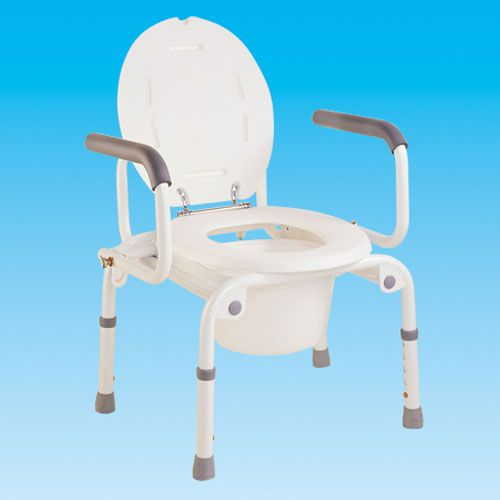 The Drop Arm Portable Commode is a lightweight yet sturdy bathroom aid that is ideal for use in the home. The frame is make from steel for stability and the toilet seat, pan and lid are plastic.