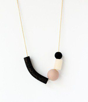 black glitter asymmetric necklace