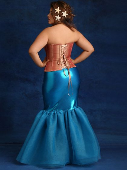 Plus Size Mermaid Metallic Trumpet Tulle Skirt, Blue | Fatshion ...