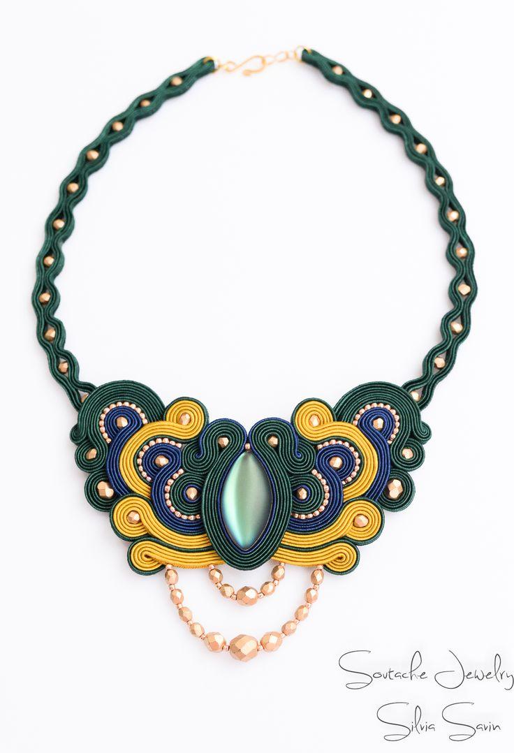 Green/Blue/Mustard yellow/Gold unique handmade soutache necklace