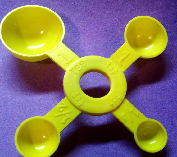 Measuring spoon, one piece, primary yellow plastic, usa made.