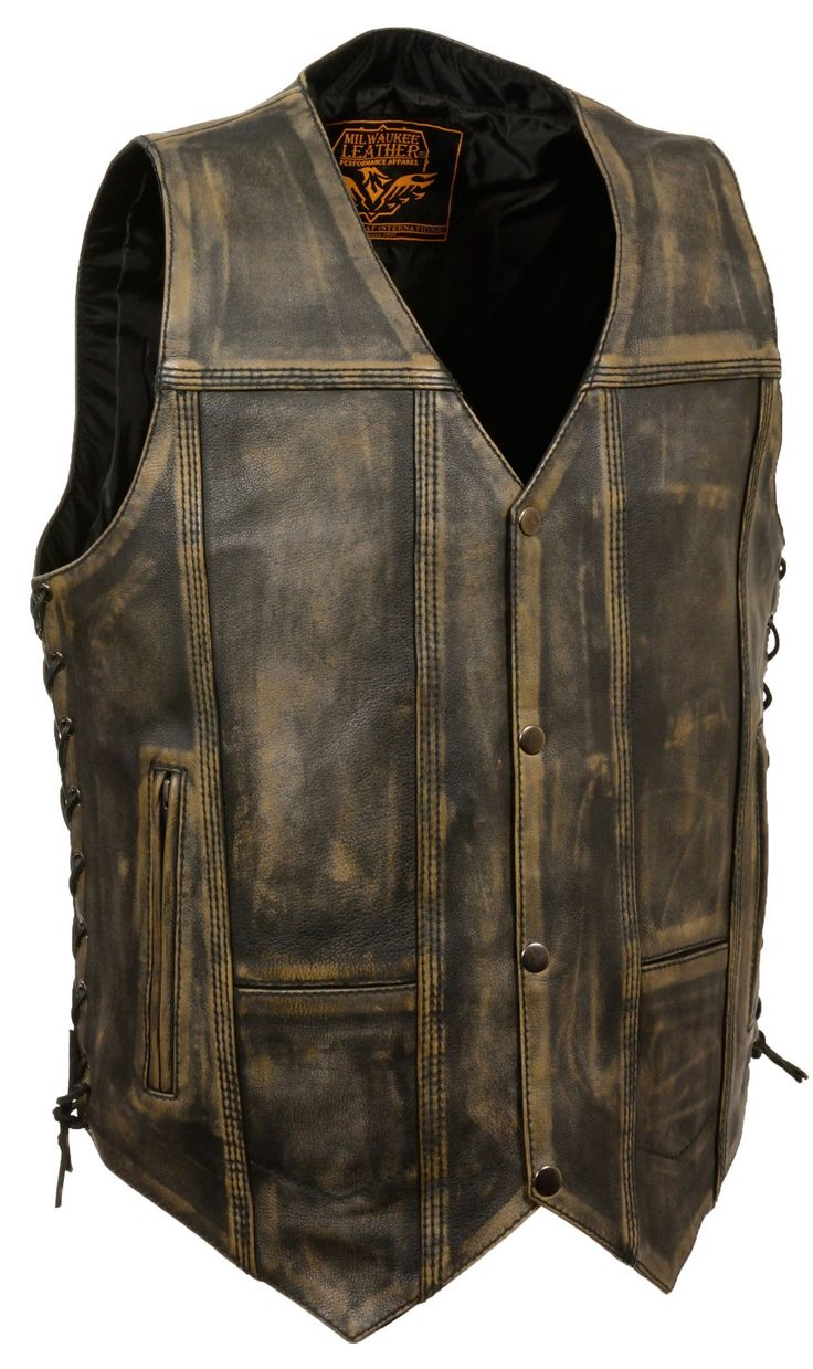 BROWN DISTRESSED LEATHER BIKER VEST 4X at Amazon Men's Clothing store: