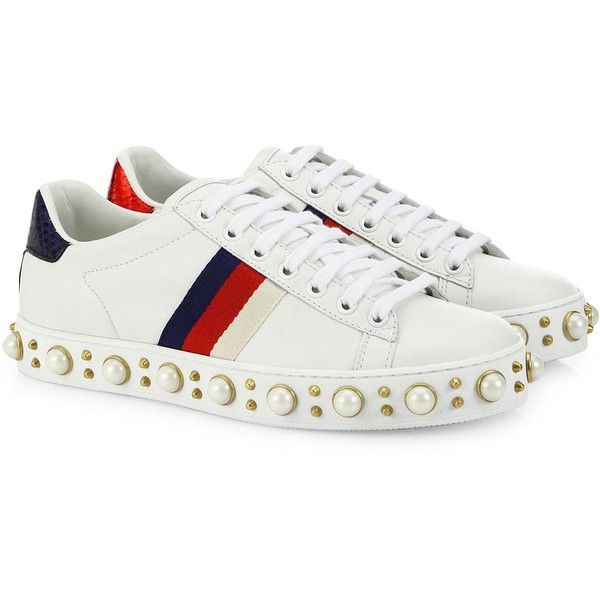 Gucci Gucci New Ace Faux Pearl Studded Leather Low-Top Sneakers (3.615 BRL) ❤ liked on Polyvore featuring shoes, sneakers, laced sneakers, leather upper shoes, rubber sole shoes, laced up shoes and round cap