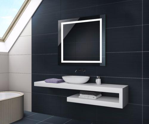 Beautiful Details zu Quadratisch LED Badspiegel Lichtspiegel Wandspiegel Touch u Sensor Schalter