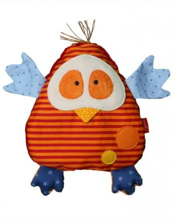 Kirschkernkissen VOGEL in orange geringelt