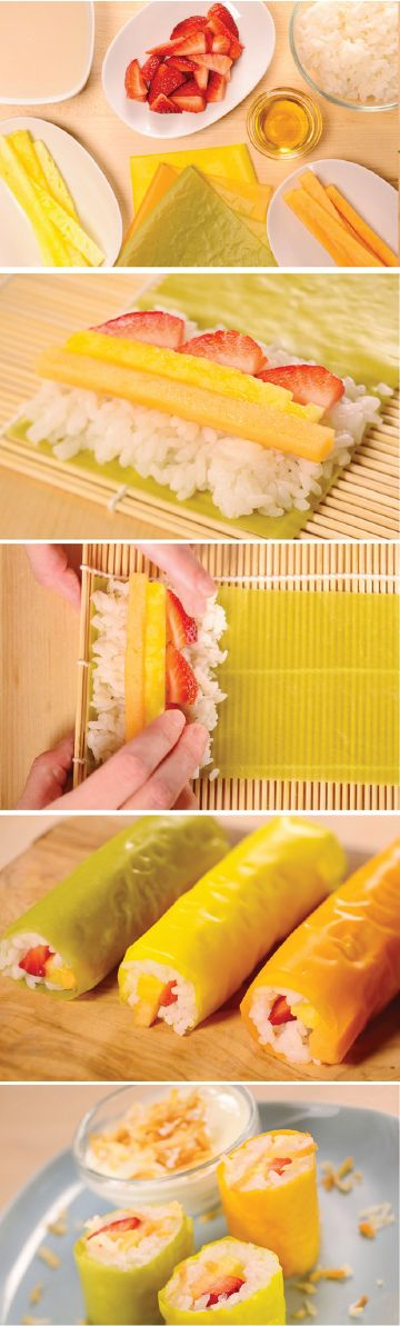 Looking for a quick recipe that makes fruit a yummy and appealing snack for kids? Fruit Sushi is just as fun to make as it is tasty—and it's a great party activity for the kids!
