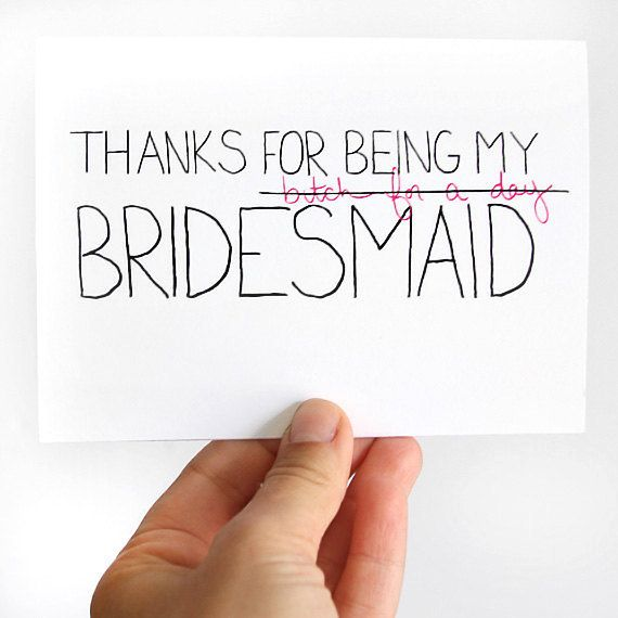 Thanks For Being My Bridesmaid Card Thank You Pink Black