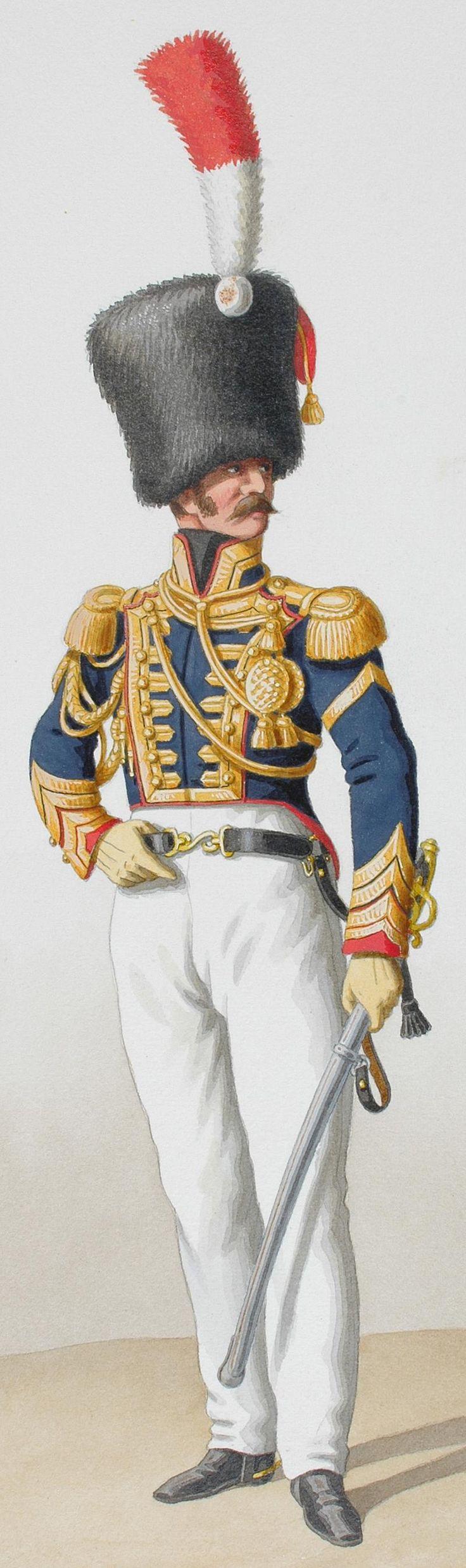 1824. Garde Royale. Artillerie à Cheval. Maréchal des Logis-Trompette, Trompette.