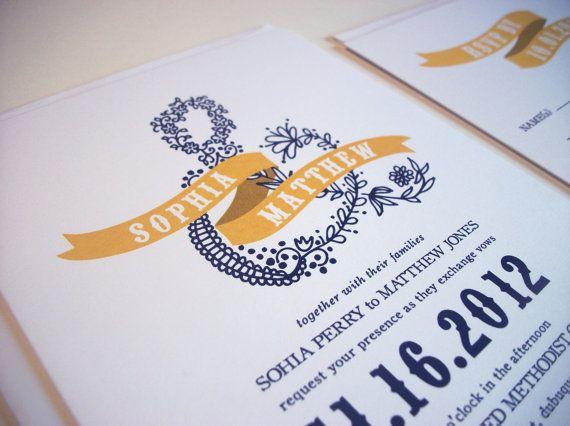 illustrated ampersand Wedding Invitation