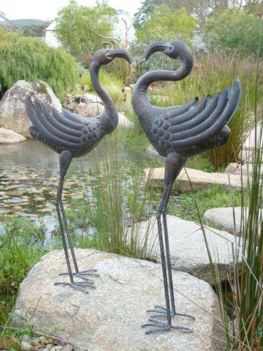 Set of 2 pair of metal crane stork water bird garden pond for Japanese pond ornaments