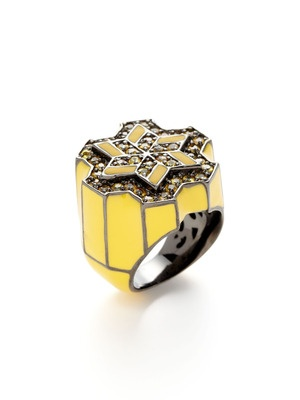 geometric ring: Campel Laurenza, Geometric Rings, Enamels Rings, Windmills Yellow, 239Windmil Yellow, Matthew Campel, Laurenza Windmills, Yellow Enamels, Mcl