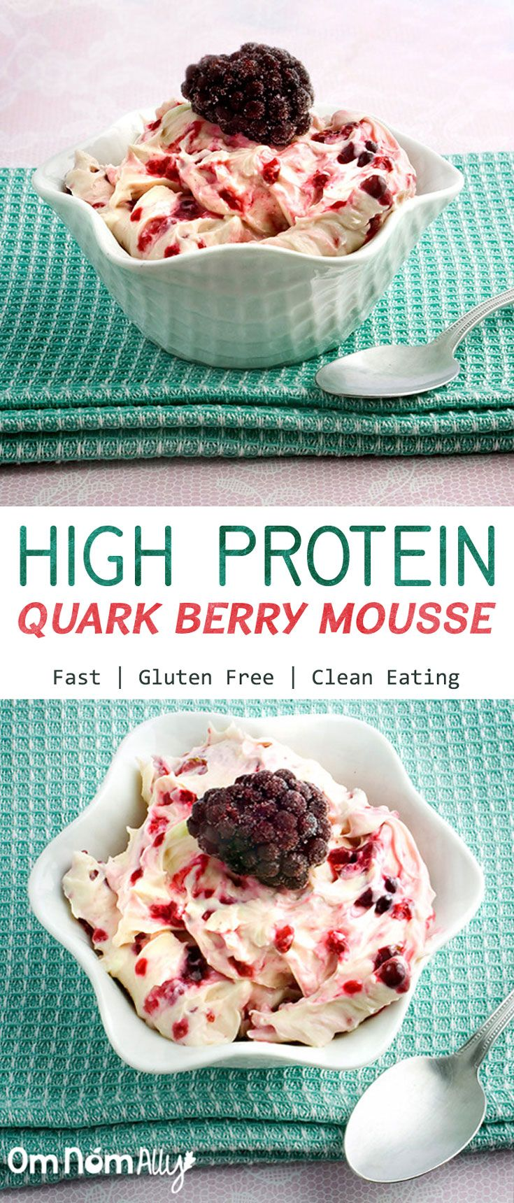 High Protein Berry Mousse @OmNomAlly made with protein-rich quark or cottage cheese and your favourite fresh or frozen berries!