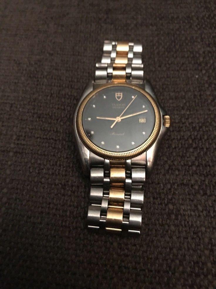 Rolex Tudor Monarch Swiss 18kt Gold ref 15633 Rare Dark Blue dial w/ 10 Diamonds