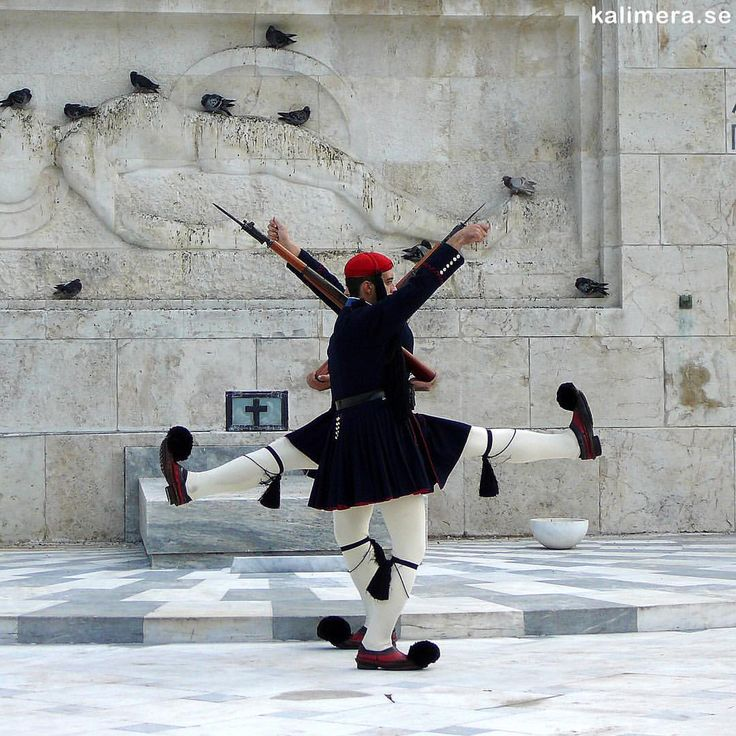 Two Evzones who guard the Greek parliament and the tomb of the unknown soldier in Syntagma Square in Athens.