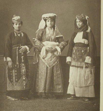 1873 - Traditional Clothing 1) Yuruk Woman Nomad of Bigha (Biga); 2) Christian Woman of Island of Chios; 3) Christian Woman of Lemnos