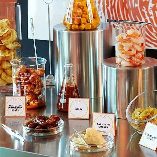Lab Theme Party Appetizers -   Send your lab nerd friends to the small-bites buffet where they can follow easy formulas to combine ingredients into innovatively yummy petri dish bites.