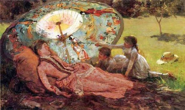 19th-century American Women: Off to Japan - Japonisme Parasols Painted By American Artists: Oil Paintings, Hamilton 1847 1928 Lady, Hamilton Lady With A Parasols, Art Iv, Parasols Paintings, American Artists, Artists Sceneari, Hamilton Hamilton, Parasols Time