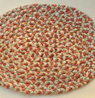 Multicolored, woven bath mat - made of cotton and silk handmade plaits / Wielobarwny, pleciony chodniczek łazienkowy
