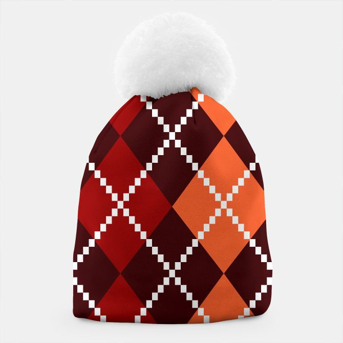 Winter Beanie brown with Design Blocks
