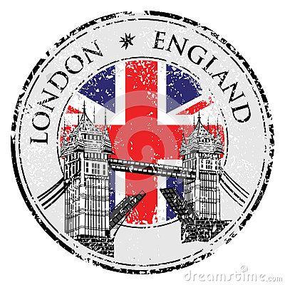 Sello del grunge del puente de la torre con la bandera, ejemplo del vector, Londres