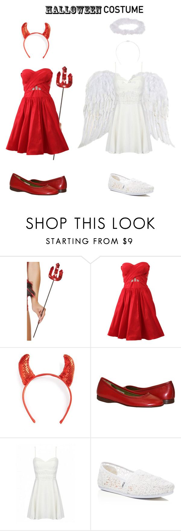 """""""Best friends costume (Angel and Devil)"""" by casscop318 ❤ liked on Polyvore featuring Notte by Marchesa, Topshop, TOMS, halloweencostume and DIYHalloween"""