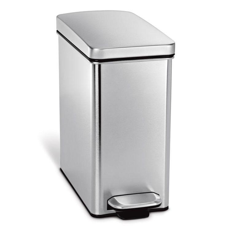 10 l Fingerprint-Proof Brushed Stainless Steel Slim Step-On Trash Can, Silver Metallic