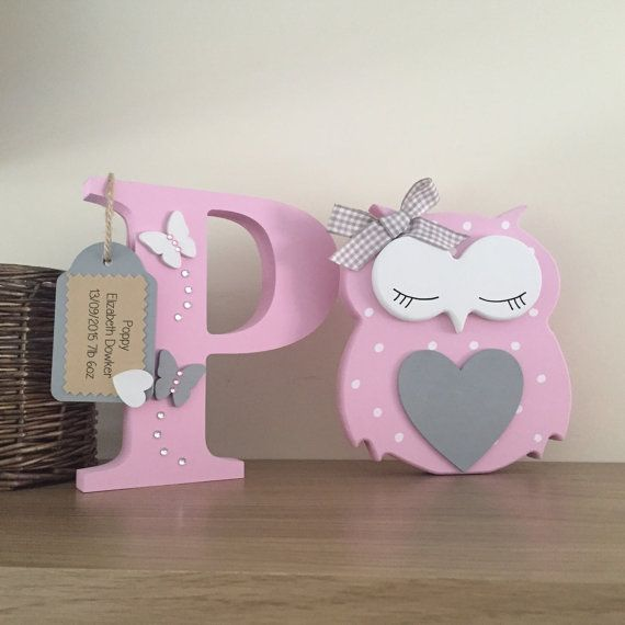 Owl & Letter - Personalised Free standing  - New Baby gift - Christening - Nursery - New Baby -Owls