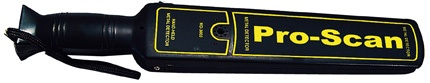 The PRO-SCAN is a high performance hand held metal detector designed to meet the exact requirements of the security industry. Typical uses will include body search for offensive weapons in crowd control, airport and border security, checking parcels and letters for metal objects and anywhere that hidden metal needs to be detected.    The PRO-SCAN operates on one 9 volt standard or rechargeable battery. The presence of metal will be indicated by an audio warning tone and a blinking red light.