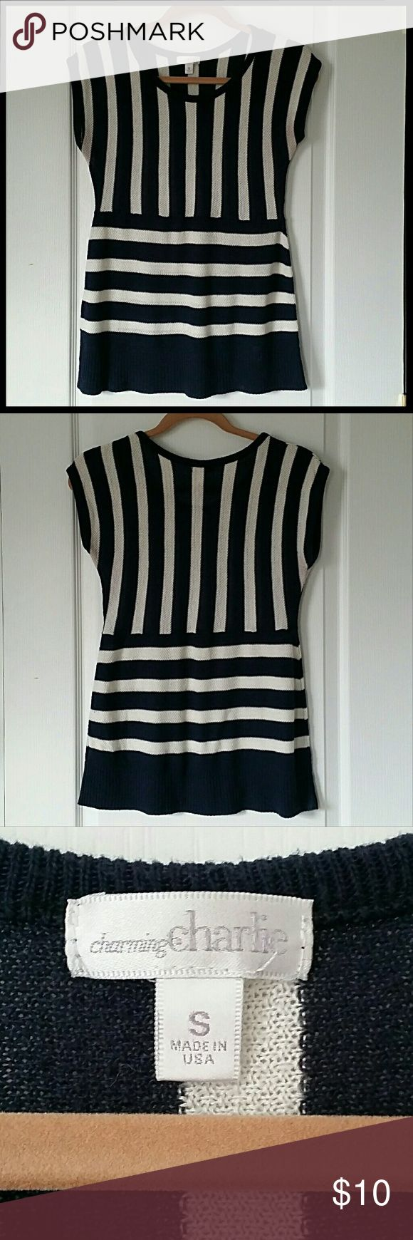 Charming Charlie Navy Striped Tunic Nautical short sleeve sweater tunic from Charming Charlie. Charming Charlie Tops Tunics