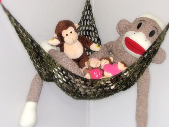 Stuffed Animal Storage Hammock in Camoflauge by millmelo on Etsy, $29.95  Getting for Z's room for all of his stuffies to match his jungle themed room.