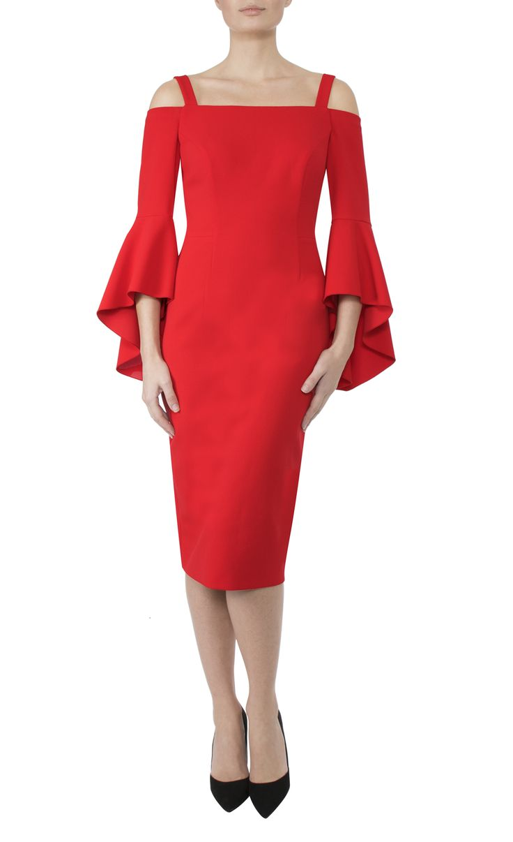 Occasion Wear   Tulip Red Crepe Dress