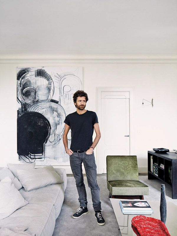 Joseph Dirand Parisian minimalist apt living room charcoal drawing by Thomas Houseago