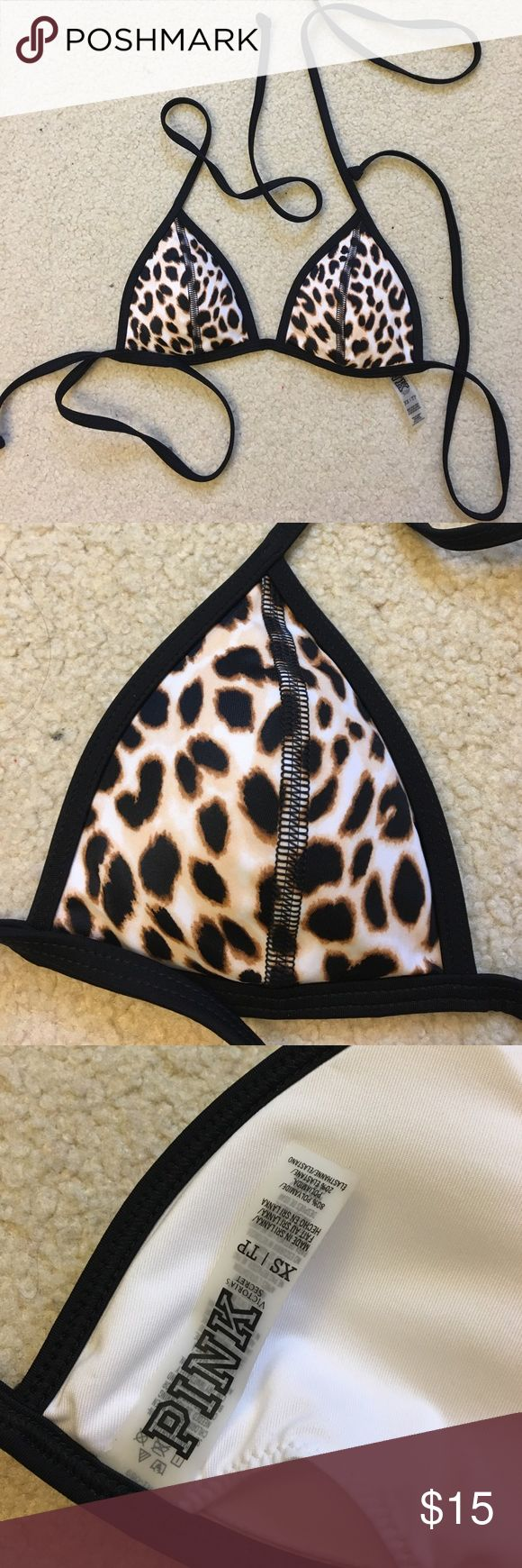 VICTORIAS SECRET PINK TRIANGLE BIKINI TOP VS Pink Cheetah Print Triangle Bikini Top | Size XS | Removable pads | Tie around on top & side (see photos) | Worn once, like new! PINK Victoria's Secret Swim Bikinis