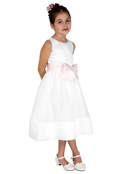 6b93132c244 Us Angels Flower Girl Satin And Organza Sleeveless Bodice With Sash And Hem  Full Skirt- Toddler Girls