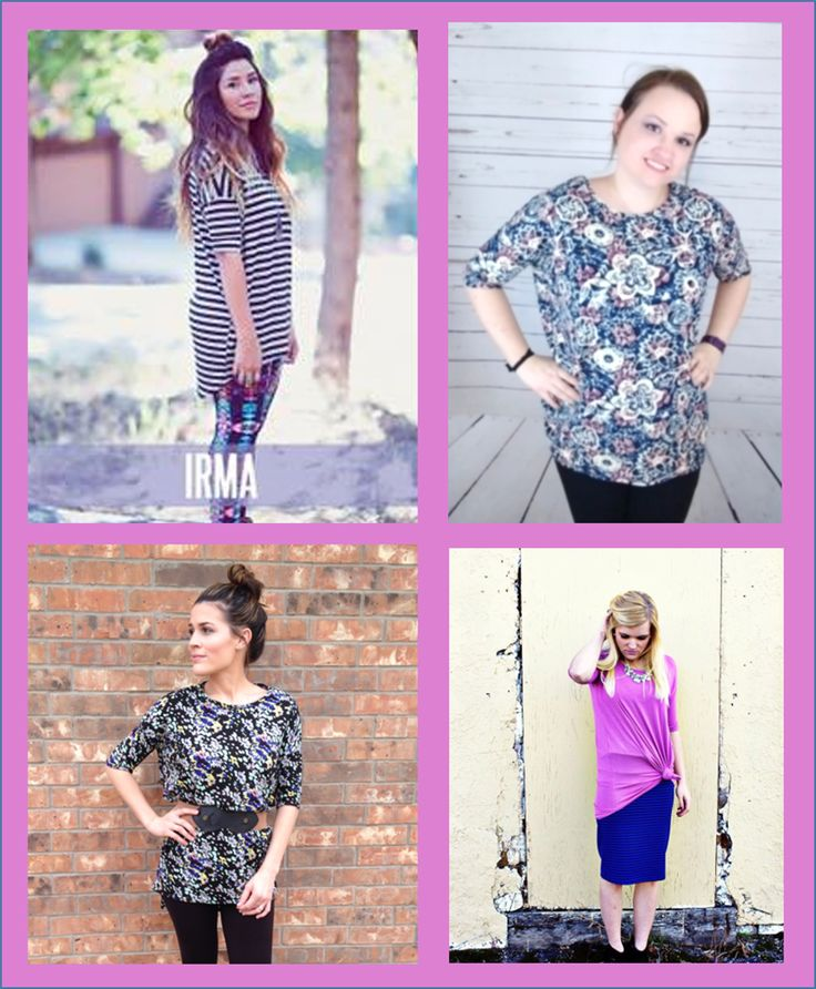 Irma is my everyday girl. I can't wait to see what Irma prints come in my initial order! She's a super stretchy tunic, which means it's looser up top and becomes slightly fitted at the bottom The long back of this shirt makes it a perfect companion to leggings. Irma can be made into a tank top, skirt, one sleeve-shirt, and so much more. I have a video I recorded showing some of the ways. I will try to get that up soon!