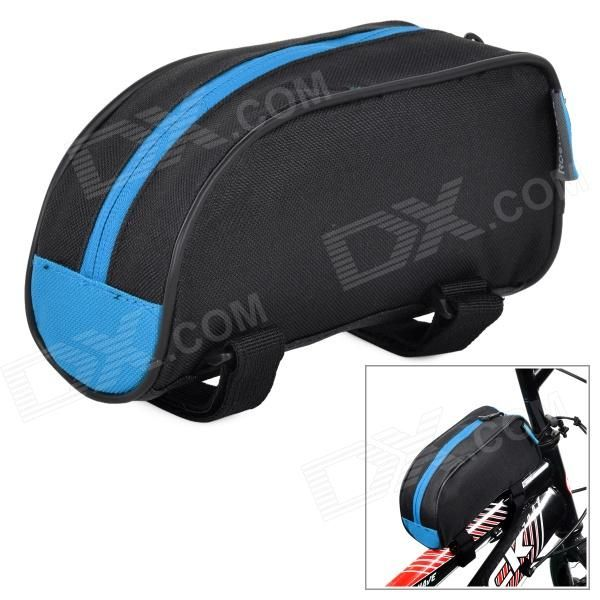 Color: Black + Blue; Brand: ROSWHEEL; Model: 12654; Quantity: 1 Piece; Material: 600D polyester; Gender: Unisex; Best Use: Cycling,Mountain Cycling,Recreational Cycling,Road Cycling,Bike commuting & touring; Waterproof: No; Type: Frame Fit Bags; Other Features: Can hold your cell phone, wallet, small gadgets etc; Packing List: 1 x Tube bag; http://j.mp/1leN6w6