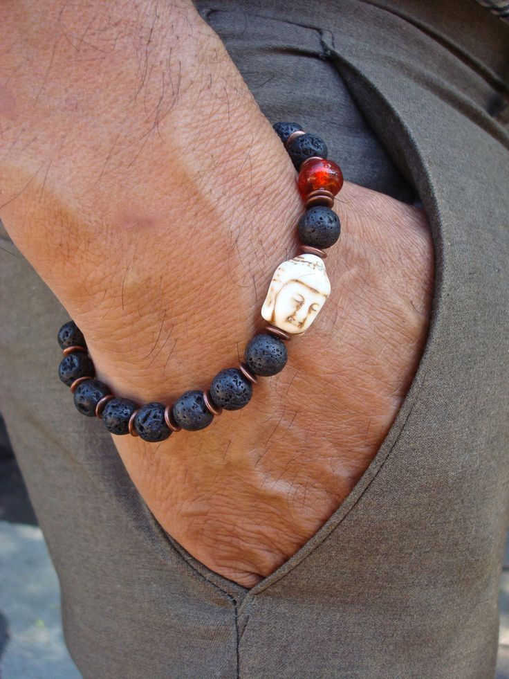 Men's Spiritual Tibetan Buddha, Good Fortune Bracelet with Black Lava, a White Turquoise Carved Buddha, a Red- Orange Murano Bead, Copper by tocijewelry on Etsy