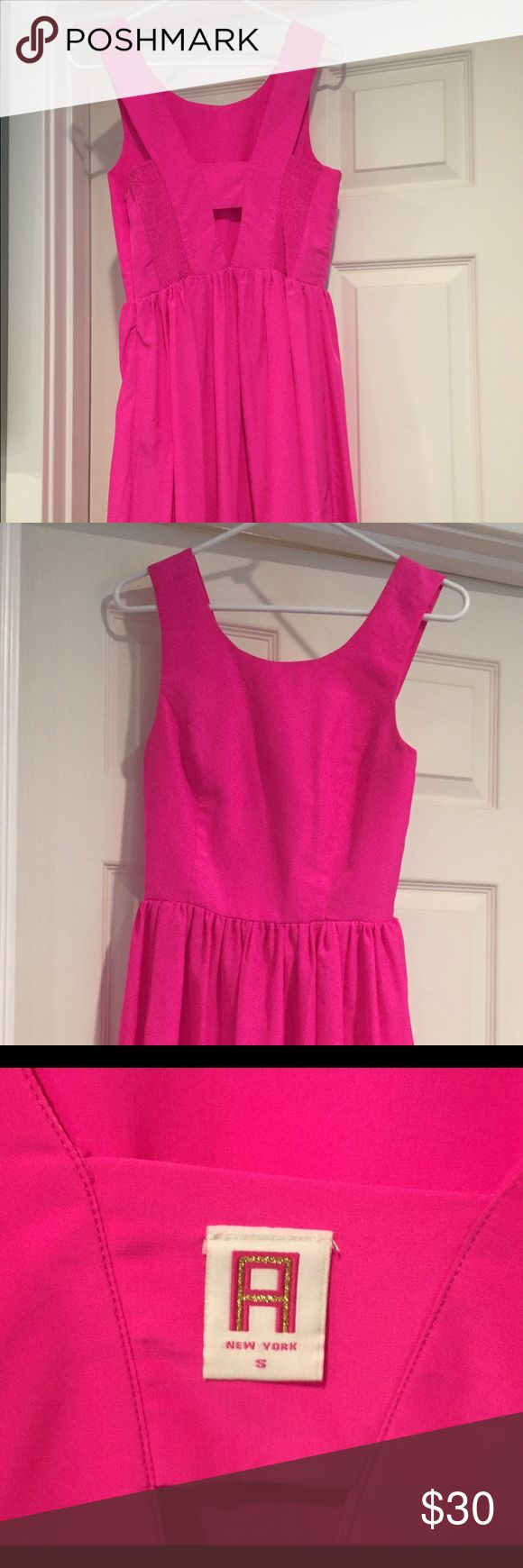 Hot pink sundress Airy and light material.  Only worn once or twice. Adriana New York Dresses Midi