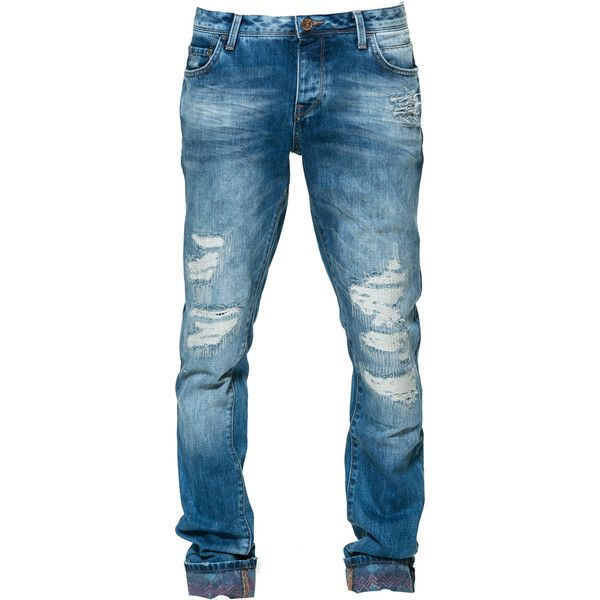 Zara Ripped Jeans ($50) ❤ liked on Polyvore featuring mens, men's clothing, men's jeans, pants and dark blue