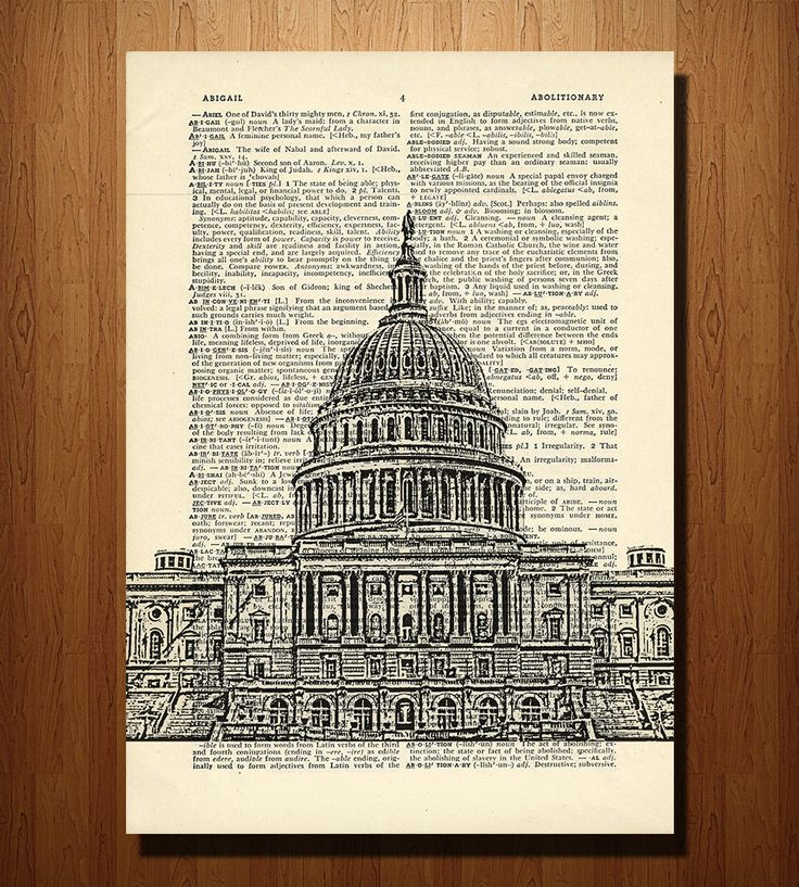 DC Capitol Building Print on Vintage Dictionary Paper | Art Prints | DarkIslandCity | Scoutmob Shoppe | Product Detail