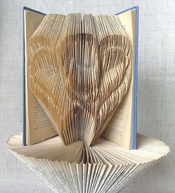 Book folding pattern and FREE Tutorial  2 Hearts by PatternsStore