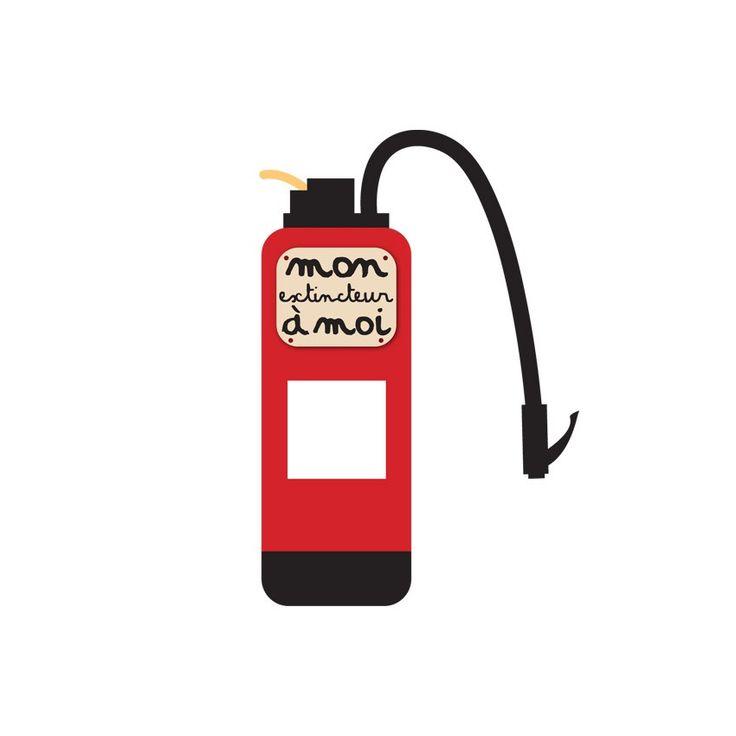 Sticker enfant pour prise ou interrupteur - Extincteur Pompier