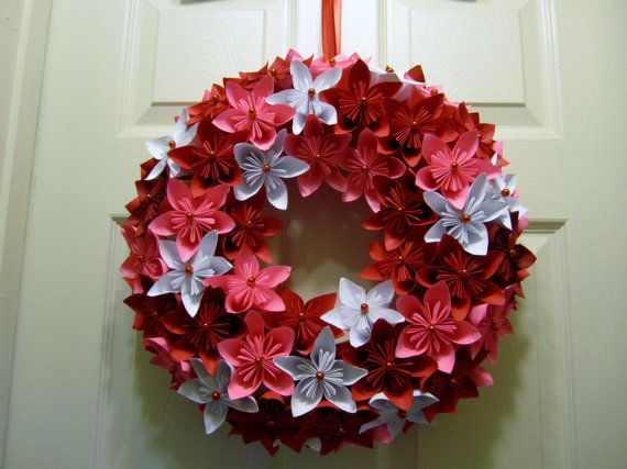 Handmade Valentine Colors Flower Origami Wreath  Great as a Centerpiece!! Red, Pink and White