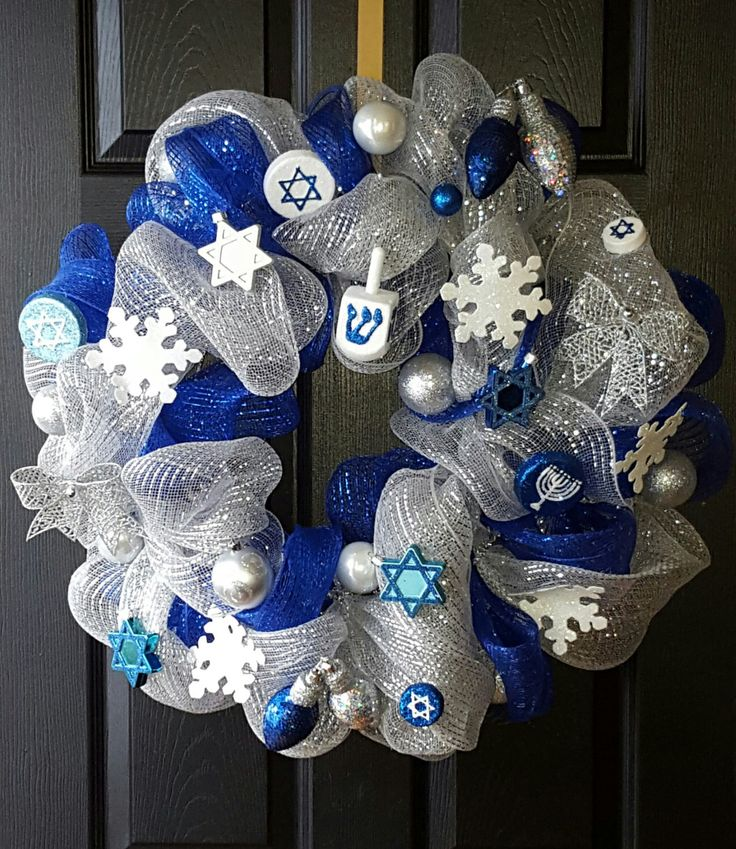 Hanukkah Deco-Mesh Wreath by Rusticchickboutique1 on Etsy https://www.etsy  · Hanukkah DecorationsHome DecorationsOutdoor ... - The 246 Best Images About HANUKKAH On Pinterest