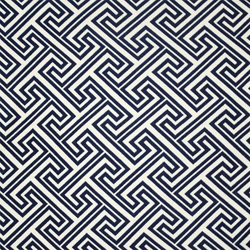 Navy Blue Greek Key Cotton Spandex Blend Knit Fabric - A designer overstock score!  Navy blue greek key repeating design on a soft cotton spandex rayon jersey blend knit.  Fabric has a nice drape and soft hand, and is mid weight with a 4 way stretch.  Key design measures 7.5cm (see image for scale).  ::  £8.95