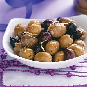 Citrus Spiced Olives; marinated in white wine, mmm